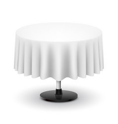 classic round table with white cloth isolated on vector image