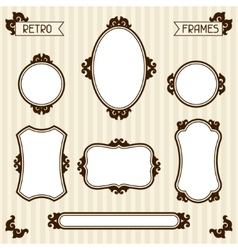 collection of vintage frames in retro style vector image