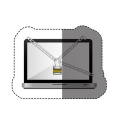 Color silhouette sticker with laptop with chains vector