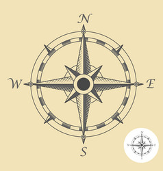 Compass or wind rose symbol - nautical navigation vector