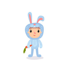 cute little kid in blue bunny costume standing vector image