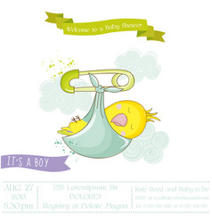 cute newborn parrot baby shower or arrival card vector image