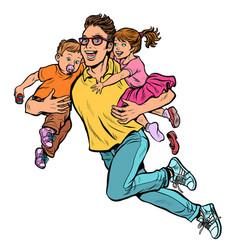 Dad superhero flies and carries his daughter vector