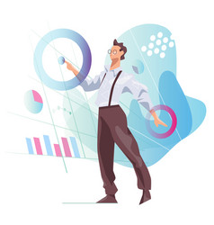 data scientist looking and interacting vector image