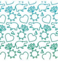 degraded line hippopotamus with tropical plants vector image