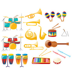 Different kinds of musical instruments vector