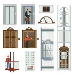 Elevator icon set vector