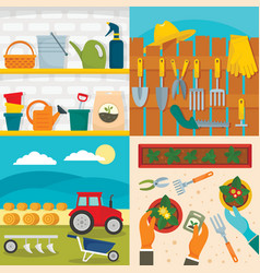 Farming equipment banner set flat style vector