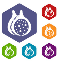 Fig fruit icons set hexagon vector