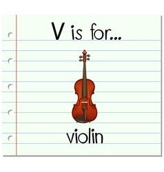 Flashcard letter V is for violin vector image
