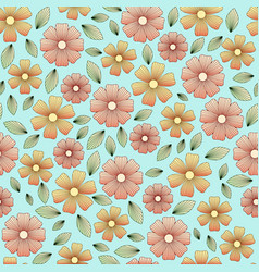 Floral pattern with leaves and petals vector