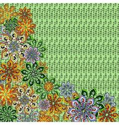Flower covered frame on green vector