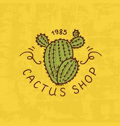 flower shop emblem or cactus logo vintage bouquet vector image