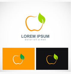 fruit apple organic logo vector image