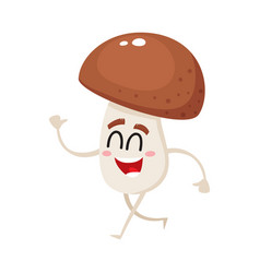 funny happy porcini mushroom character with vector image