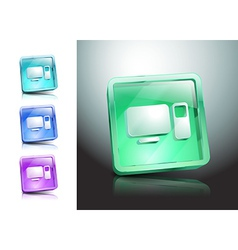 glass icons set green computers monitor vector image