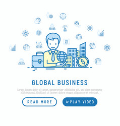 global business concept man with planet in hand vector image
