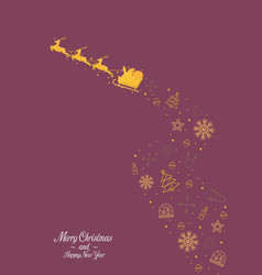 golden santa claus with reindeer sleigh with vector image