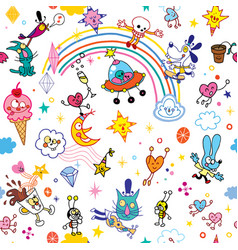 group of cartoon characters fun seamless pattern vector image