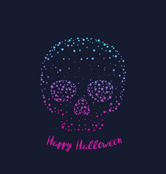 Happy halloween poster card with skull vector