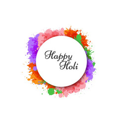 happy holi watercolor splash background vector image