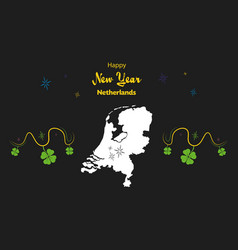 Happy new year theme with map of netherlands vector