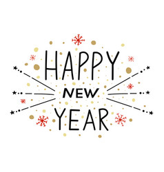 happy new year with lettering vector image