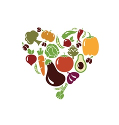 heart made of vegetables vector image