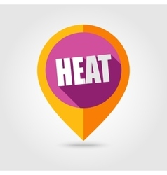 Heat flat mapping pin icon with long shadow vector