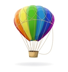 Hot air balloon in rainbow colors isolated vector