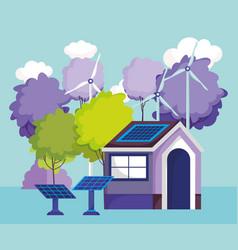house solar panels turbine wind trees nature vector image