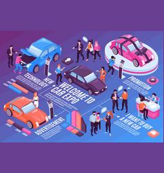 Isometric car showroom flowchart vector