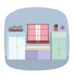 kitchen interior sink furniture window curtains vector image