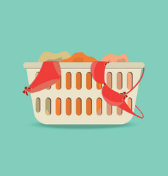 Laundry basket with underwear and dirty clothes vector