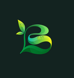 Letter b ecology logo with green leaves and dew vector