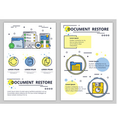 line art document restore poster banner vector image