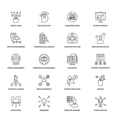 Line icons project management vector