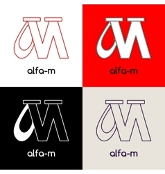 Logo design template with two united letters Alfa vector