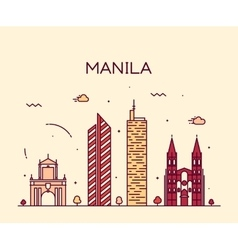 Manila skyline trendy linear vector