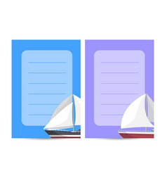 Marine explore tour card with sailboats vector