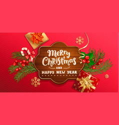 merry christmas and new year wishing banner vector image