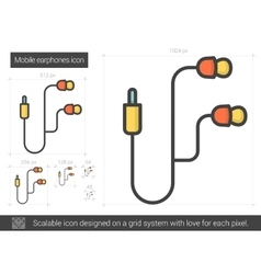 Mobile earphones line icon vector