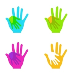 modern colorful hands holding set on white vector image
