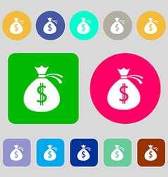 Money bag icon sign 12 colored buttons Flat design vector image