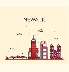 newark skyline new jersey usa linear style vector image