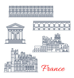 nimes and narbonne architecture in france vector image