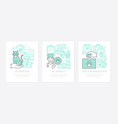 pet care - three banners in line design style vector image
