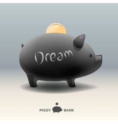 Piggy moneybox with golden coin - for dream vector image