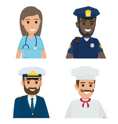 professions doctor policeman sailor cook vector image