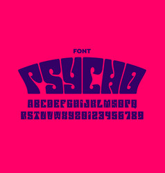 psychedelic style font design 1960s alphabet vector image
